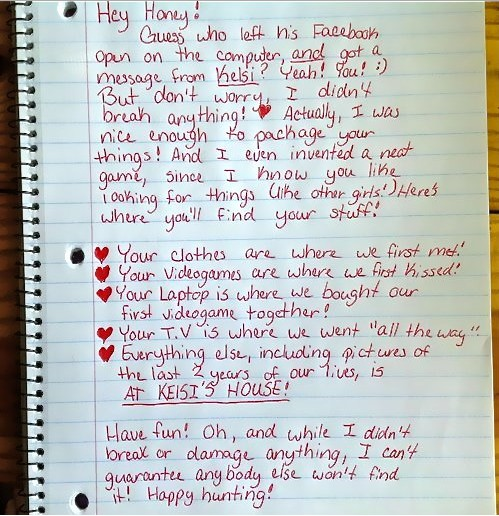 Hilarious breakup letter for those caught cheating on Facebook! (Divorce therapy or?)