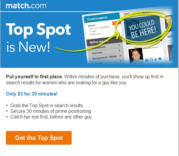 Top spot feature is live as of Feb. 1st 2014.