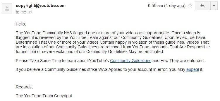 Unfair removal of YouTube Channel